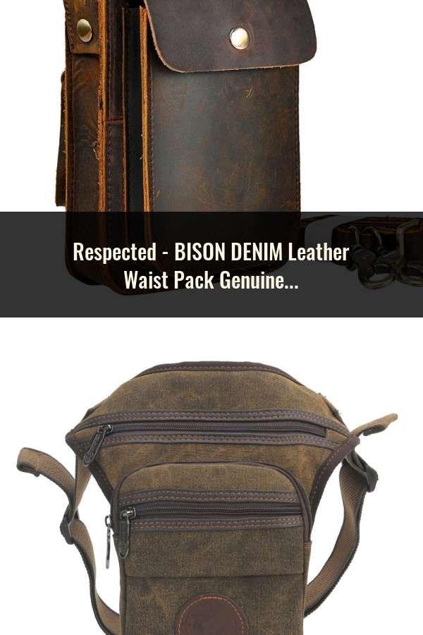 8ed848835c BISON DENIM Leather Waist Pack Genuine Leather Waist bag Ipad Mini Cowhide waist  pack bag money