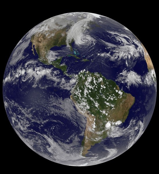 NOAA-NASA GOES Project                              The GOES-13 satellite captured this image of Hurricane Sandy on October 28 at 5:55 p.m. ET