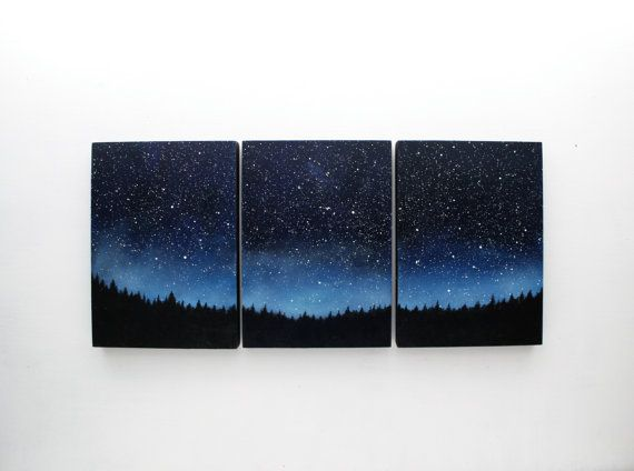 SALE 15% off Night Sky Triptych Oil by TreeHollowDesigns on Etsy