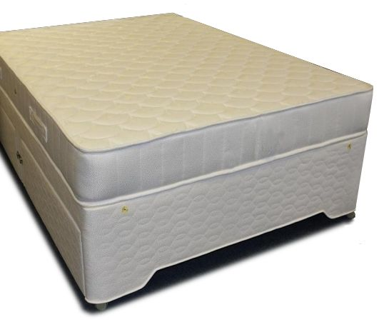 3ft Bournemouth Divan - £249.95 - The base is constructed with a 100% pine frame with a platform top and is upholstered in a high quality quilted damask fabric, with piped edging for a professional, quality finish.   Headboard fixings and 8 beige deluxe twin wheel castors included.   If a drawer base is selected, the drawers run on steel runners with wheels for a smooth and reliable action. Price shown includes a matching non storage hard top base. Please use the tab below for more storage…