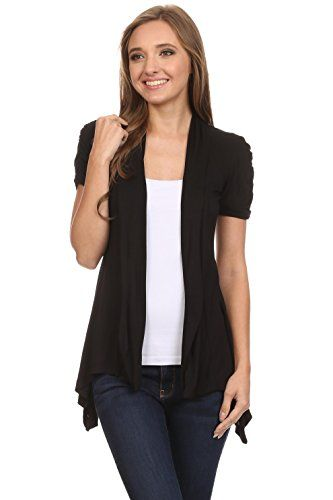 Short Sleeve Cardigan for Women Open Front Draped Flyaway Cardigan Sweater Reg & Plus. VERSATILE - Enjoy this draped cardigan for every day office wear or dressier events. This open cardigan flatters any figure with a slimming effect and form flattering cut. Wear the cardigans for women on a variety of different occasions. COMFORT - Our long cardigan sweaters are made of high quality material, 100% rayon, for long and durable use. This open front cardigan for women combines comfort and...
