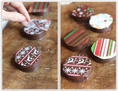 How to Make Fancy Dipped Oreos (using an oreo mold and edible chocolate transfer sheets)