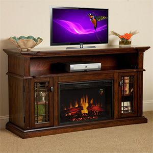 "Corinth 23"" Burnished Walnut Electric Fireplace Cabinet Corner Mantel Package - 23DE1447-W502"
