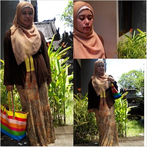 #hotd wearing kerudung paris, outer and mermaid skirt ( from @Atisomya Hijab collection 2012) so comfort for hot weather in bali