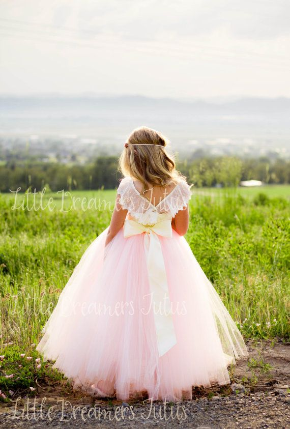 NEW The Everly Dress in Ivory and Pink Blush  Flower Girl