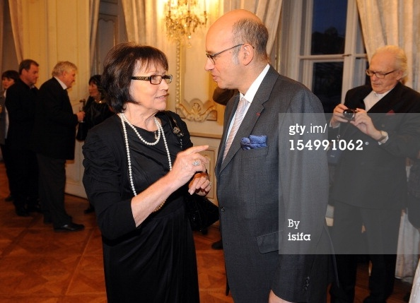 PRAGUE, CZECH REPUBLIC - OCTOBER 29: Singer Marta Kubisova speaks with Pierre Levy, Ambassador of France in Czech Republic, after being awarded Chevalier de la Legion d'Honneur at the French Embassy on October 29, 2012 in Prague, Czech Republic. (Photo by Michaela Feuereislova - isifa/Getty Images)