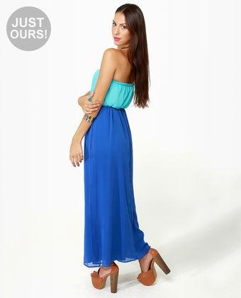 LULUS Exclusive Who's Who Aqua and Royal Blue Maxi Dress