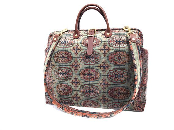 Carpet Bag Weekender Bag/ Overnight/ Carry on Flight travel
