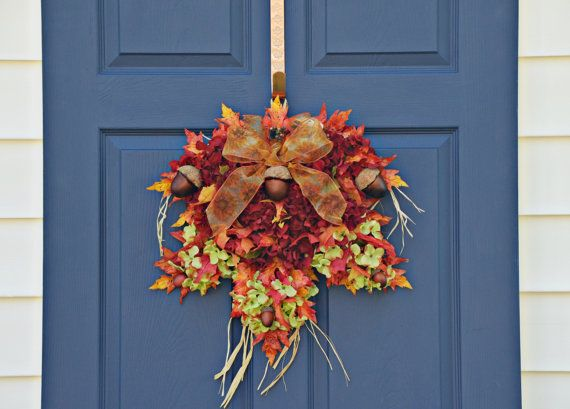 Fall Leaf Wreath Autumn Wreath Home Decor by JuliesHomeCreations