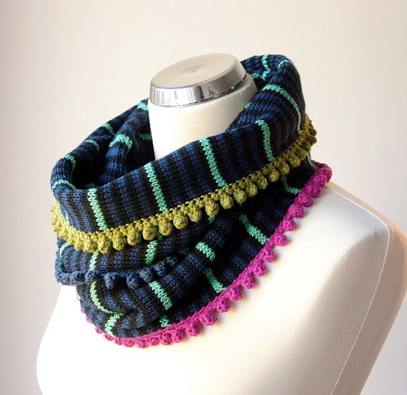 Soft cotton knit cowl scarf in black, navy and teal with colorful, crochet details by rukkola on Etsy. #colorfulknits #cottonknitscarf