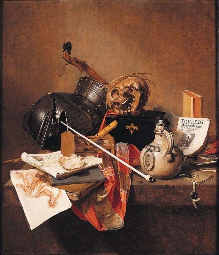 London National Gallery Next 20 13 Jan Jansz Treck - Vanitas Still Life Jan Jansz Treck - Vanitas Still Life, 1648, 91 x 78 cm. In this apparently quiet still life, each object contains a secret message about death and how quickly life goes by. The skull is an obvious symbol of death. The helmet is a reminder that armour cannot protect even the greatest warrior from death. The hour-glass measures how time passes. The pipe and the plug of tobacco suggest that life is like smoke, here for a…
