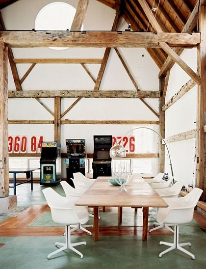 wow: Dining Rooms, Interior Design, Spaces, Exposed Beams, Office Design, Children, Woods, Wood Beams