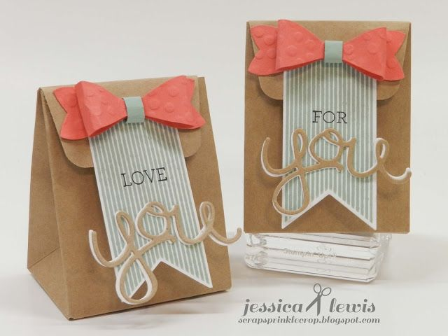 Mini gift bags created with the new Stampin' UP! gift bag punch board and new 2015-2017 In-Colors. See a tip on creating the tab to close the top of the bag.