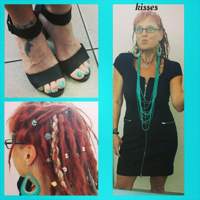 😆Crazy face day, sharing another outfit and shoes.  This time a simple black business dress with wedge heels.  #dreadlocks down for fun.  #shoes #fashion #fashionfun #businesslocks #businessfashion #Freespirit #hippieatheart