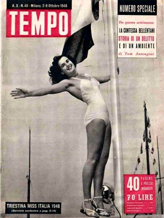 """Fulvia Franco - Cover of Itlain weekly newsmagazine """"Tempo"""" (Time): """"Miss Italia 1948 is from Trieste"""" (2nd October 1948)."""