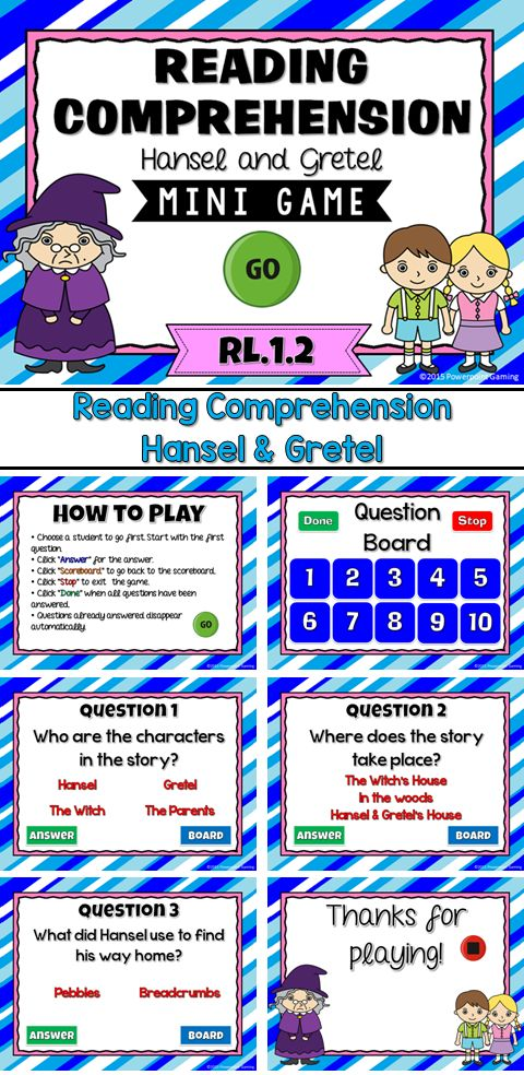 reading comprehension fairy tales hansel and gretel powerpoint game comprehension student. Black Bedroom Furniture Sets. Home Design Ideas