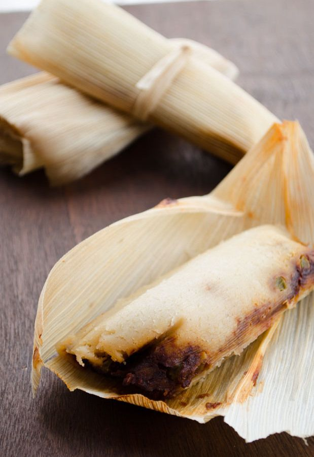 Vegan Potato Adobo Tamales. these tamales are filled with a mixture of potatoes and peas tossed in a spicy adobo sauce.