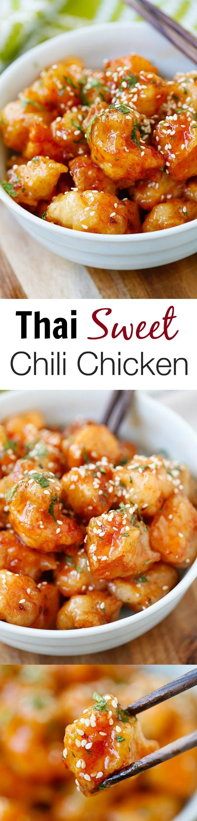 Thai Sweet Chili Chicken recipe with sticky, sweet and savory sweet chili sauce. So good you will want to lick the plate!