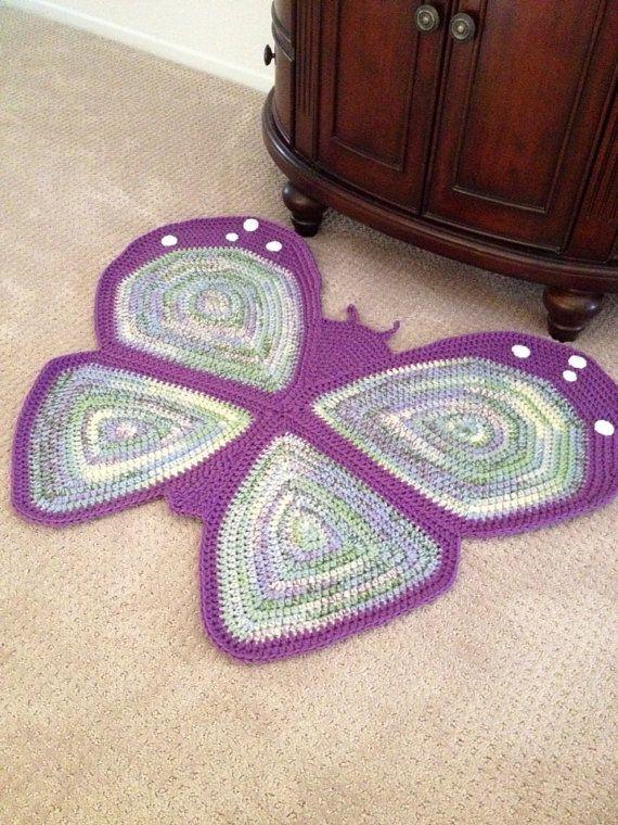 Crochet Butterfly Rug di peanutbutterdynamite su Etsy