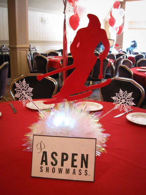 Ski Silhouette Centerpiece Themed With