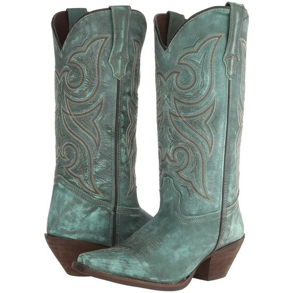Durango Crush 13 (Marbled Turquoise) Cowboy Boots ($101) ❤ liked on Polyvore featuring shoes, boots, green, mid-calf boots, green boots, platform boots, green cowboy boots, vintage western boots and western cowboy boots