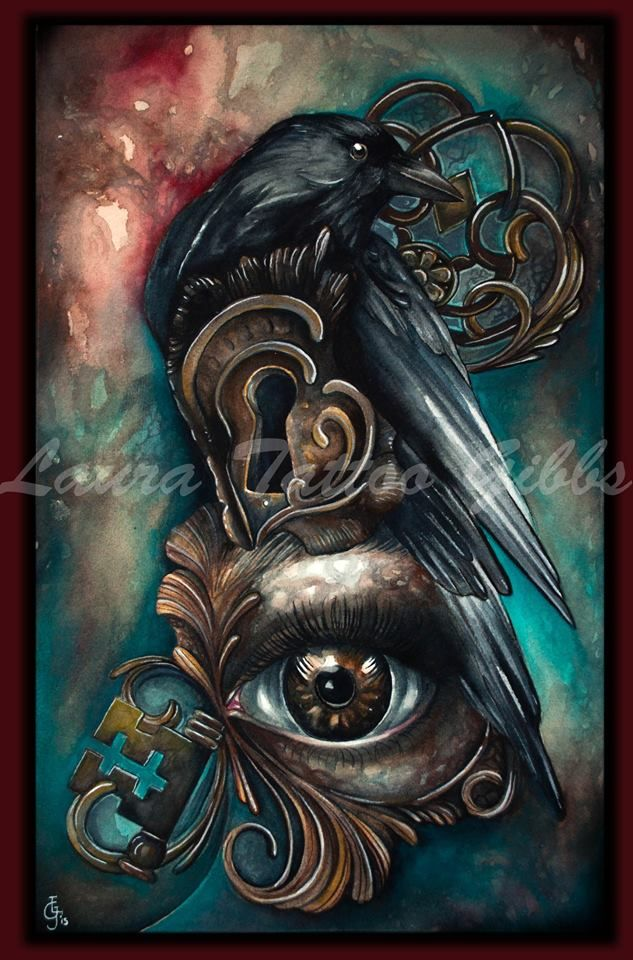 'Harbinger of death' watercolour on 640gsm paper .  artwork by Laura Tattoo Gibbs #crow #art #watercolour #ink #death #raven #key #keyhole #eye #bird #gothicart