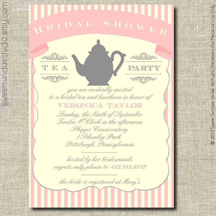 107 best Bridal Shower Bridesmaids Tea Bachelorette Party images – Bridal Tea Party Invitations