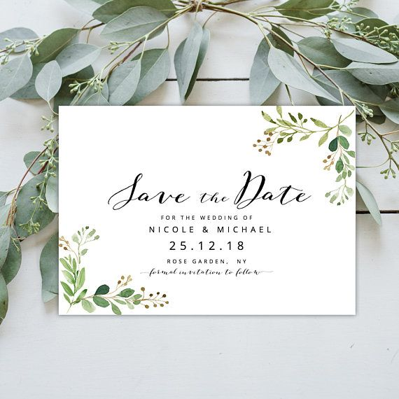 Wedding Invitation Eucalyptus Twigs