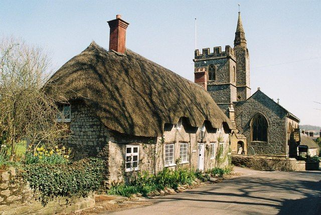 Evershot: Tess Cottage and the church, so gorgeous, Dorset, England
