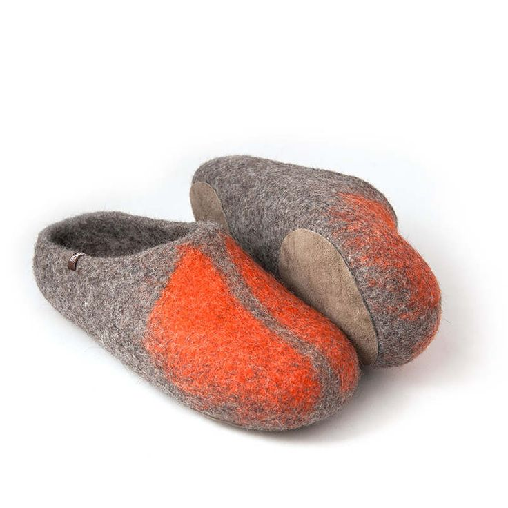 mules slippers mens, orange, SOLO Wooppers collection #slippers #wool #slip on slippers