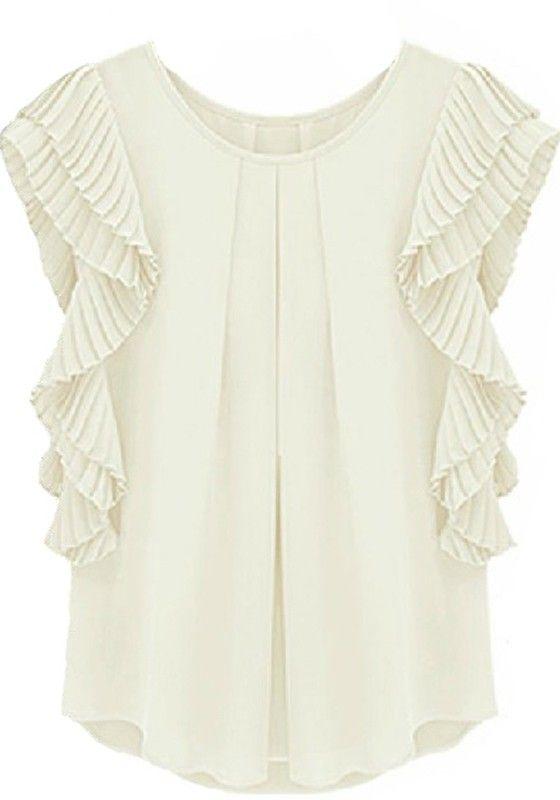 White Lotus Short Sleeve Loose Chiffon Blouse