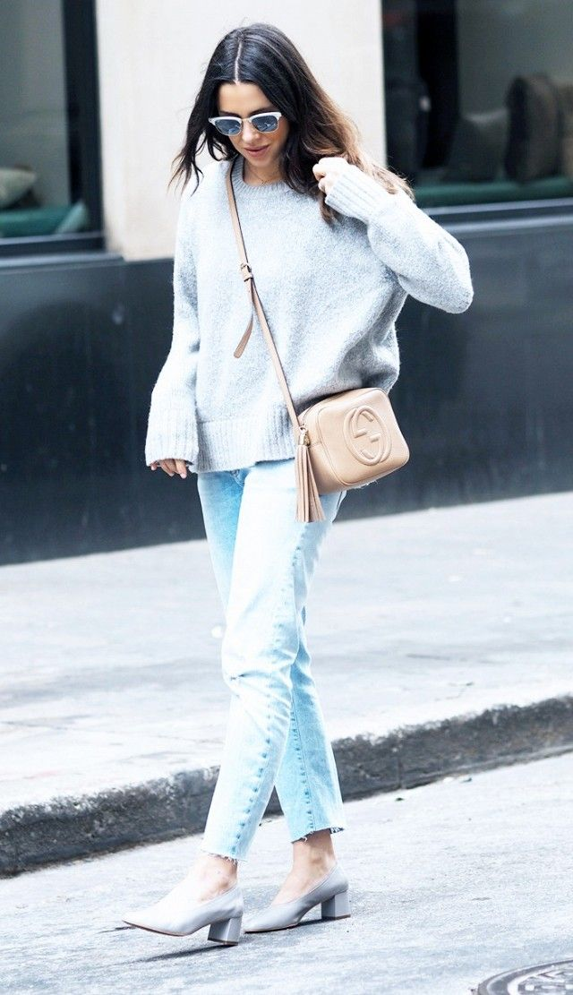 Anneli Bush:Ray-Ban Clubmaster Sunglasses(£180); Gucci Soho Shoulder Bag(£650); Zara top and jeans; Topshop Juno Shoes(£59).