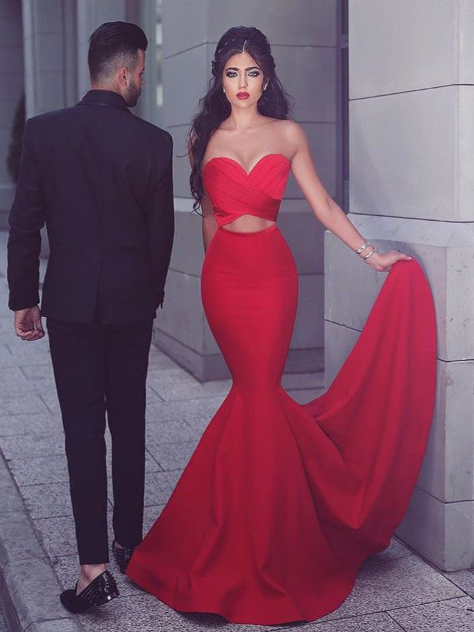 Gorgeous Strapless Mermaid Red Long Prom Dress Evening Dress
