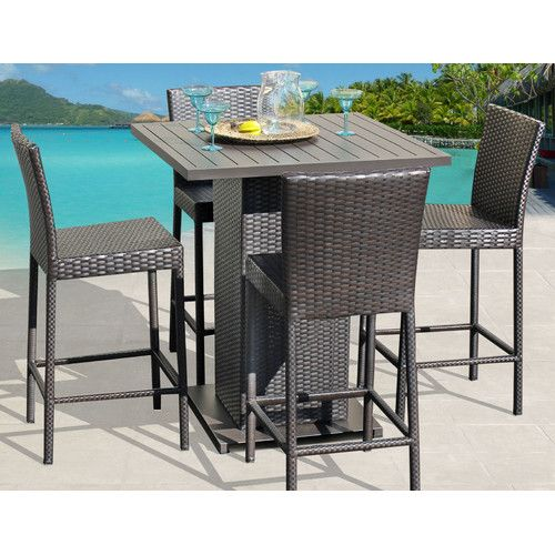 Venus Pub Table Set With Barstools 5 Piece Outdoor Wicker Patio Furniture,  Brown