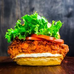 Fried Chicken, Hot Sauce and A Sandwich Walk Into A Bar...Spicy Buffalo Ranch Chicken Burgers   FWx