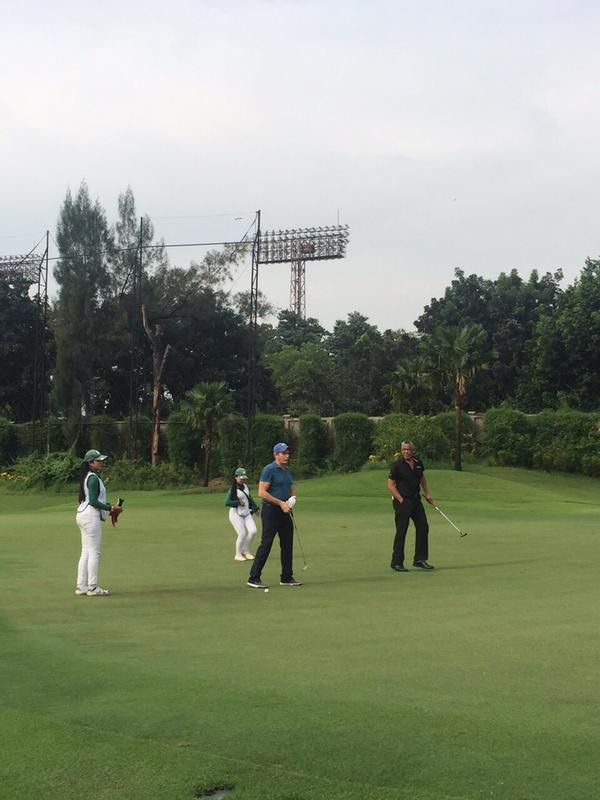 At Senayan National Golf Course, Jakarta, Indonesia on 1st June, 2015 with Gita Wirjawan