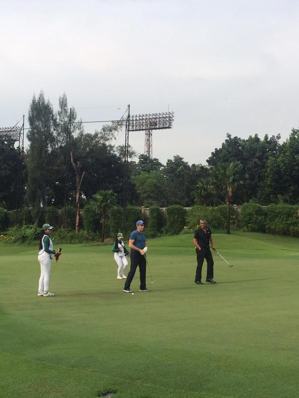 At Senayan National Golf Course, Jakarta, Indonesia on 1st June, 2015 with Gita Wirjawan