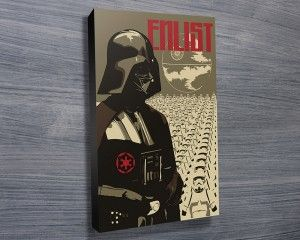 ENLIST WITH THE EMPIRE $26.00–$741.00 Darth Vader of Star Wars with growing Imperial army in the background is depicted in this canvas print. As with all art on this site, we offer these prints as stretched canvas prints, framed print, rolled or paper print or wall stickers / decals. http://www.canvasprintsaustralia.net.au/  #PhotosoncanvasAustralia #Stretchedcanvas #Gicleeprint