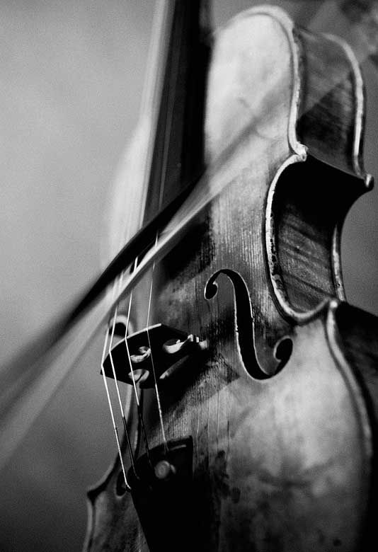 Beautiful black and white photo, love that it captures the movement of the bow