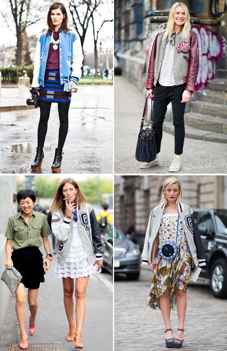 """Las chaquetas """"Varsity"""" o """"Baseball"""" arrasan en la calle esta temporada. Lo más curioso es que no las lucen sólo chicas jóvenes, sino que se adaptan al estilo de mujeres de cualquier edad.  Son las idóneas para crear looks inesperados combinándolas con prendas lady, como una falda de encaje, un vestido de princesa... el resultado es llamativo y elegante al mismo tiempo."""