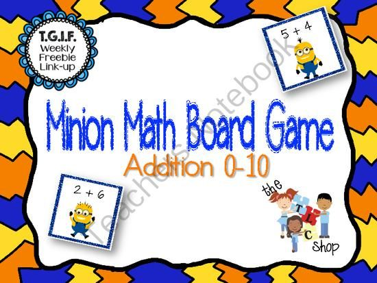 FREE! Minion Addition Board Games from missnatalie26 from missnatalie26 on TeachersNotebook.com (4 pages)  - Printable game that's perfect for small group and centers. These game boards target addition to 10.