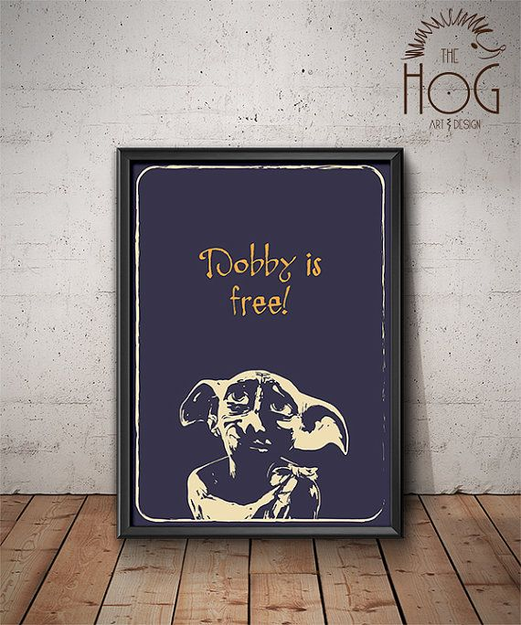 Dobby is Free - Unique Quote Poster - Minimal Illustration