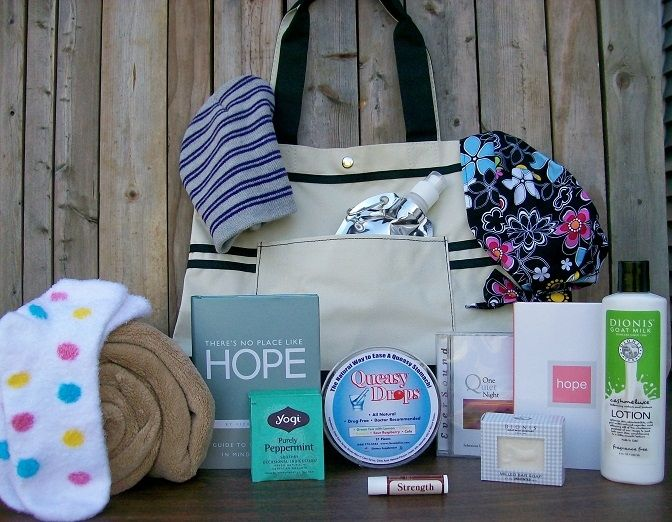 Women's Chemotherapy Gift Tote. This chemo care package is meant to comfort, so we start with a fleece throw, a pair of  hydrating socks and a beanie. A nice selection of unscented skin care products are included ~ lotion, soap, and lip balm.  For nausea relief, Peppermint tea and a container of Queasy Drops. Two books, There's No Place Like Hope, and HOPE will provide inspiration and help. A foldable water bottle, a headwrap, a CD and package it all together in a lovely black & cream tote…