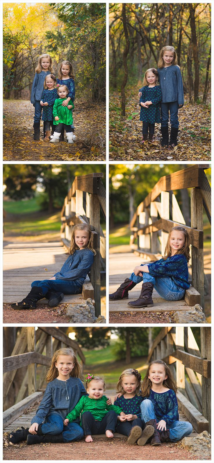 family portrait ideas, family picture poses, pose, family session, beautiful, pretty, professional, fall, baby sister, woods, sibling, sisters, bridge, girl family, family picture ideas for clothes, outfits, blue and green theme