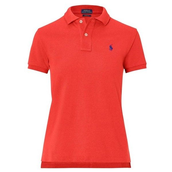Polo Ralph Lauren Classic Fit Mesh Polo Shirt ($85) ❤ liked on Polyvore featuring tops, red, short-sleeve, embroidered polo shirts, oversized tops, red short sleeve top, short sleeve polo shirts and ribbed top