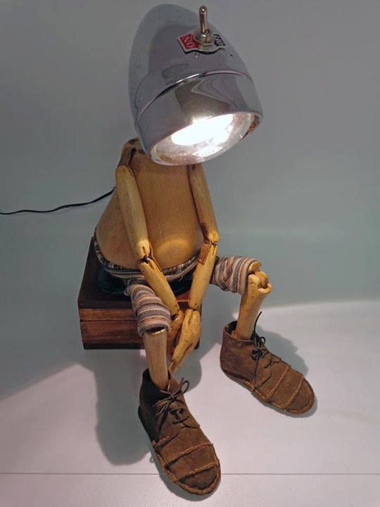 [eu]Génios da Lâmpada do Planeta Zorg upcycled recycled 3d art sculpture home design lamp boy