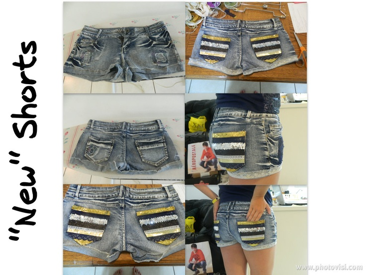 DIY : Easy Home Made Shorts   Find some old lace and ribbon and decorate your pockets! Super easy, even sticks with fabric glue. No sewing needed.
