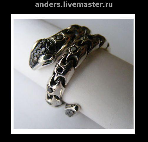 Купить кольцо змейка - кольцо змея, кольцо змей, необычное кольцо, змея, серебряный