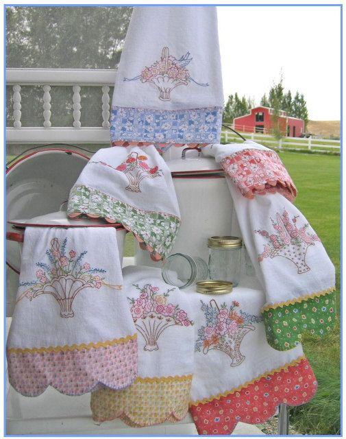 Grandma's Tea Towels 239  Hand Embroidery Pattern Crabapple Hill Studios.