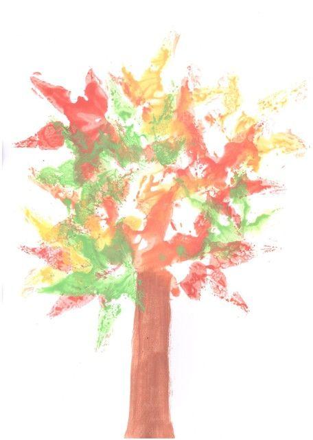 Aus heruntergefallenen Blättern und Wasserfarben könnt Ihr einen tollen Herbstbaum basteln. Diese Bastelidee wird auch den Kleinsten gefallen!